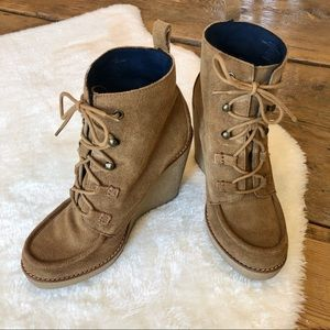 Suede Moccasin Wedge Lace Up Boots